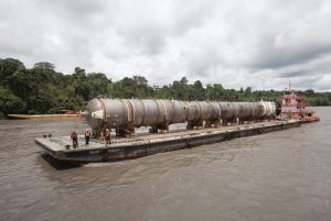 Deethanizer Tower on barge in the Amazon River
