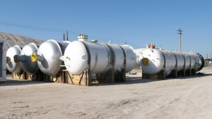 Pressure vessels awaiting at terminal for AIS Charter Vessel