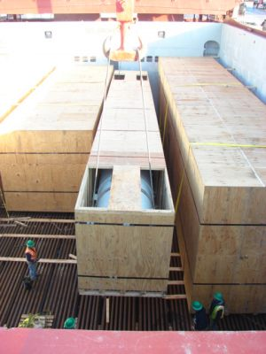 AIS export packed boxes with trap doors for vessel loading