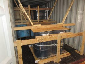 Container blocked and braced for export