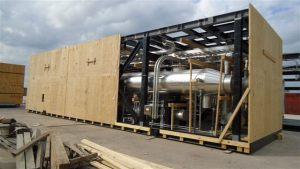 Cryogenic plant module in process of export packing