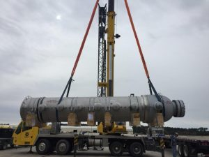 1 of 2 DXU Heat Exchanger being lifted by a 90 ton crane at IAH Houston Airport