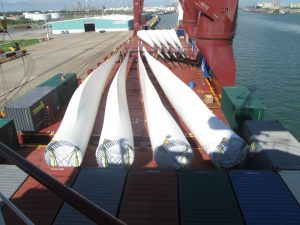 Windmill blades on vessel at port of origin
