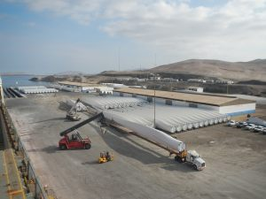 Windmill blades staged at port of destination