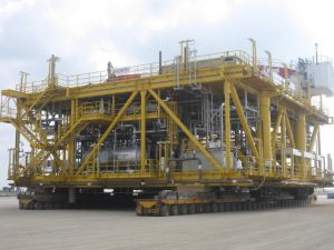 Gas Re-Injection Platform being transported to AIS Charter Barge