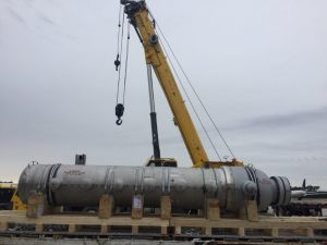 1 of 2 DXU Heat Exchanger staging for crane lift at IAH Houston Airport