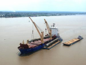 Discharging vessel in the Amazon River
