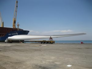 Windmill blade alongside vessel