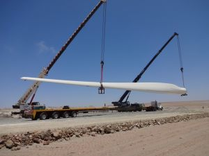 Windmill blade unloading at site